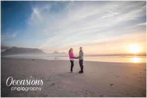 Beach Engagement Couple shoot at Milnerton Beach with Table Mountain